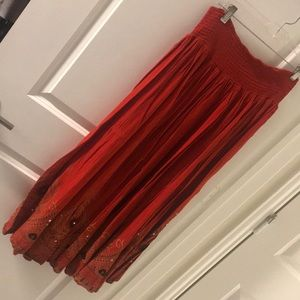 Earthbound orange maxi skirt